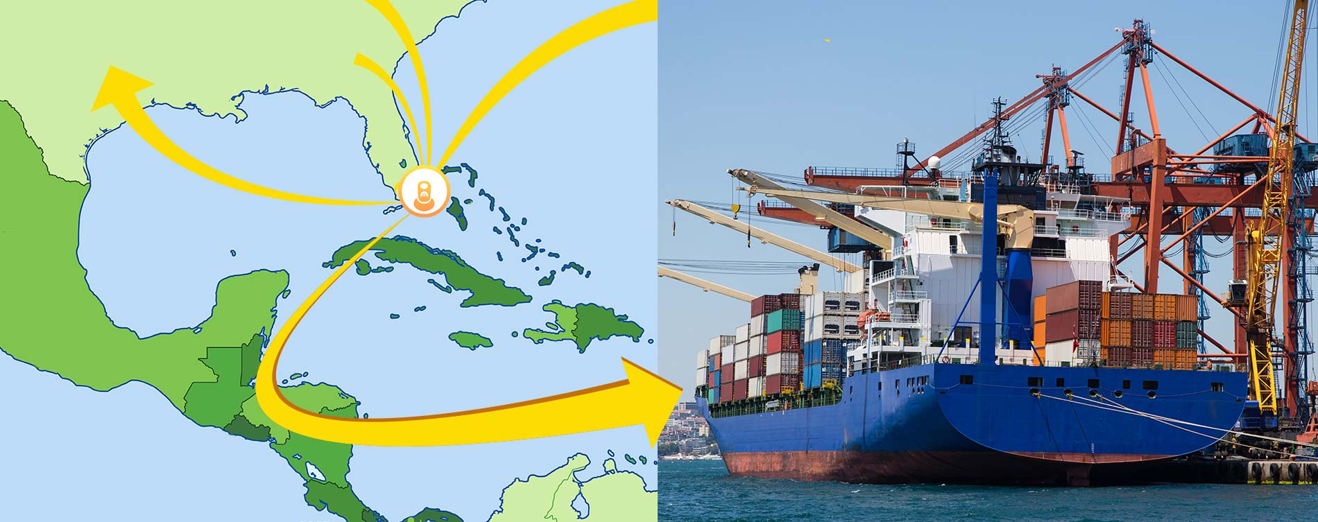 map and cargo ship